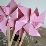 Paper Pinwheel Cupcake Toppers