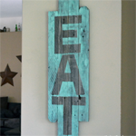 Salvaged Wood Eat Sign